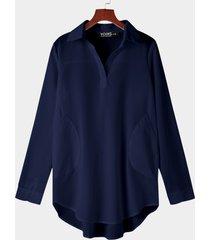 vestido camiseta de gasa azul marino con dobladillo irregular