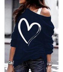 azul marino corazón camiseta de manga larga con hombros descubiertos y estampado