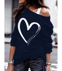 camiseta de manga larga con hombros fríos y estampado de corazón azul marino