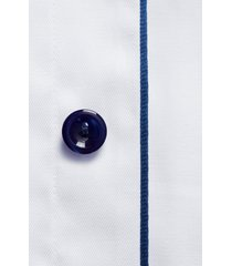 eton contemporary fit twill dress shirt, size 18 in white/navy at nordstrom