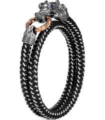 'legends naga' sapphire rhodium silver double wrap bracelet