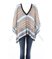 missoni mare multicolor chevron poncho sweater blue/multicolor/geometric sz: xs