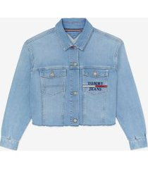 tommy hilfiger women's raw hem trucker jacket light blue - s