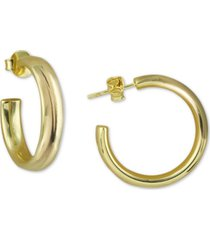 argento vivo small polished hoop earrings in 18k gold-plated sterling silver, 1""