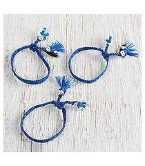 cotton wristband bracelets, 'blue dolls' (set of 3) (mexico)