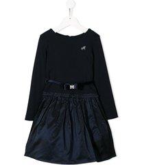 monnalisa taffeta-skirt long-sleeve dress - blue