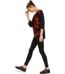 blusa desigual ml negro - calce holgado