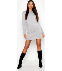 jurk met crewneck en lange mouwen, grey