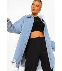 oversized versleten spijkerblouse, mid blue