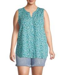 bobeau women's plus fiona floral blouse - green dots - size 5x (30-32)