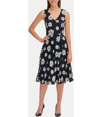 tommy hilfiger daisy mesh belted fit & flare dress