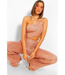 wide leg jumpsuit met pailletten, uitsnijding en open rug, rose gold