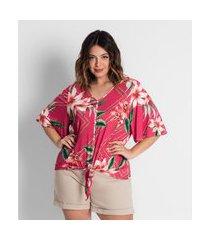 camisa plus size feminina estampada secret glam vermelho