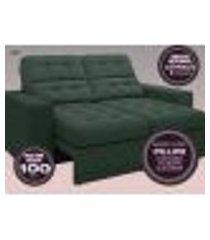 sofá jobim 1,70m assento retrátil e reclinável velosuede verde - netsofas