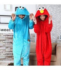 adult pajama onesie1 sesame street elmo cookie monster sleepwear cosplay costume