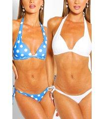 2 pack moulded push up plunge bikini, blue