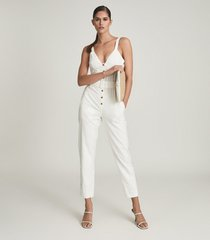 reiss sola - button through jumpsuit in white, womens, size 12