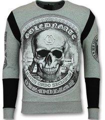 t-shirt lange mouw enos rhinestone trui - skull dollar sweater -