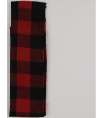 cachecol em tricô xadrez vermelho