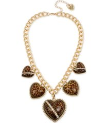 """betsey johnson gold-tone crystal leopard animal-print heart statement necklace, 19"""" + 3"""" extender"""