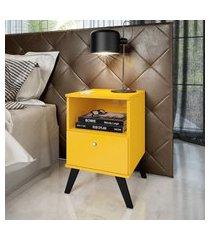 mesa  cabeceira com 1 nicho  1 gaveta amarelo lilies móveis
