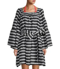 lisa marie fernandez women's striped bell-sleeve belted dress - black white - size m