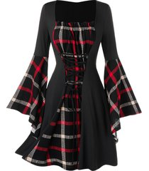 plus size bell sleeve lace up plaid dress