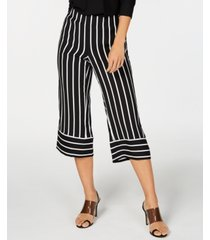 i.n.c. striped wide-leg cropped pants, created for macy's