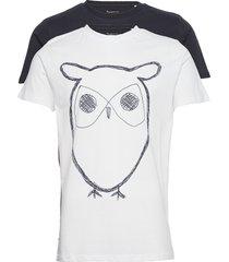 alder 2 pack big owl tee - flat pac t-shirts short-sleeved multi/mönstrad knowledge cotton apparel
