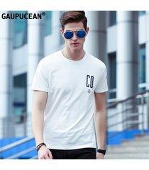 camiseta manga corta gaupucean para hombre-blanco