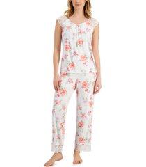 charter club lace-trim pajama set, created for macy's