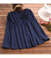 zanzea vendimia de las mujeres camisa étnica tops casuales redondos hacia abajo del cuello del lazo de la blusa de verano -azul marino
