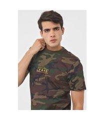 camiseta vans easy box verde/marrom
