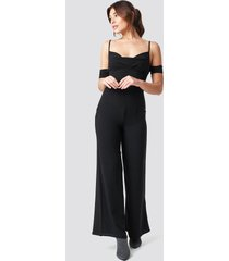 na-kd party cowl neck jumpsuit - black