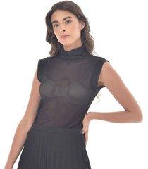 camiseta para mujer en malla color-negro-talla-m