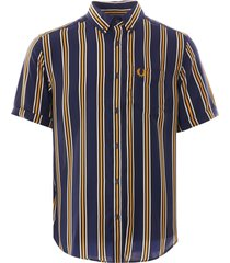 fred perry vertical stripe shirt | carbon blue | m9550-266