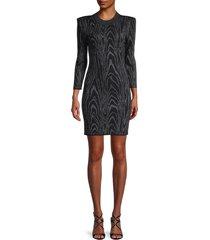 a.l.c. women's metallic-print crewneck mini dress - black steel - size m