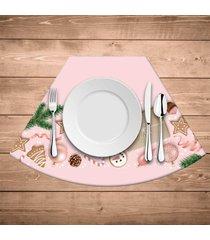 jogo americano para mesa redonda wevans natal rosa kit com 4 pçs
