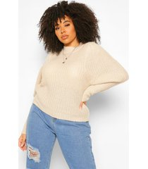 plus textured yarn puff sleeve sweater, stone
