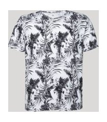 camiseta masculina estampada de folhagem manga curta gola careca branca