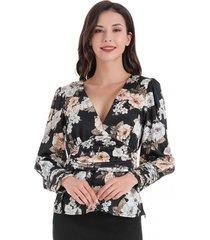 blusa flores cintura drapeada negro nicopoly