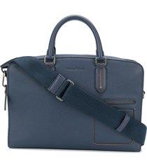 ermenegildo zegna multi-pocket leather briefcase - blue