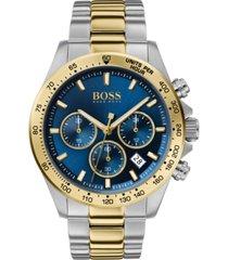 boss men's chronograph hero two-tone stainless steel bracelet watch 43mm