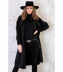woven coat lang zwart