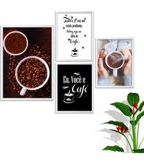 kit conjunto 4 quadro oppen house s frases eu você e café lojas cafeteria xícaras grãos moldura branca decorativo interiores sem vidro