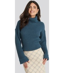 na-kd ribbed knitted turtleneck sweater - blue