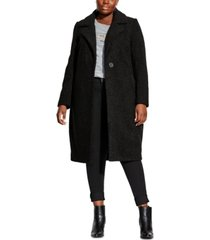 city chic trendy plus size plush love textured boucle coat
