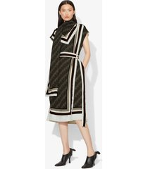 proenza schouler logo print scarf dress black/pale yellow/poppy 0