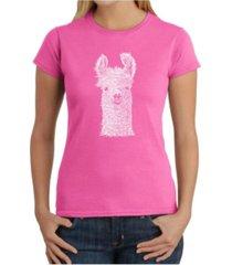 women's word art t-shirt - llama