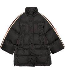 gucci padded nylon cape jacket with gucci stripe - black